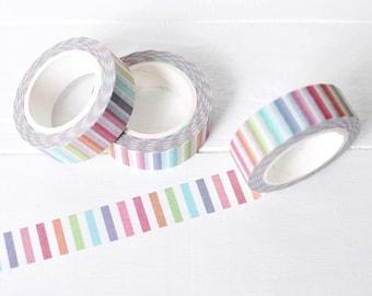 Rainbow Stripe Washi Tape. 15mm x 10m. Striped Washi Tape. Summer Washi Tape. Planner Supplies. Colorful Rainbow Washi Tape.