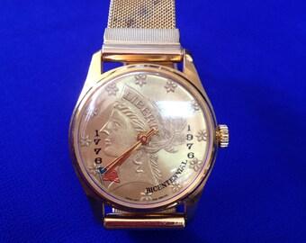 Bicentennial Liberty Coin Vintage Commemorative Gold Tone Wrist Watch