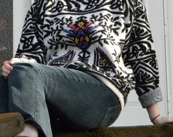 Vintage Black and White Patterned Sweater