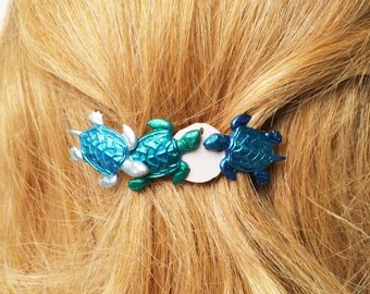 Turtle Hair Barrette, Sea Turtles and Sand Dollar Hair Clip, Blue and White