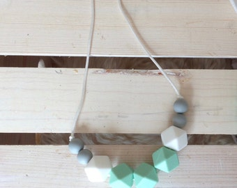 SALE** JUNO Silicone Teething Necklace - Mint, White, Grey Teething Necklace, BPA free, Geometric, Teething Toy, Baby Shower Gift, Teether