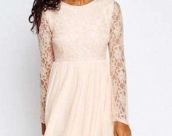 Peach Lace Bodice Dress