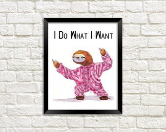 Sloth Printable, Funny Wall Art, Sloth Wall Art, Sloth Wall Print,  Animal Wall Art, Printable Art, Wall Art Printable, Sloth, Sloth Print