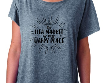 Ladies Gray Thrifter's T-Shirt | Slogan Shirt | Happy Place | Relaxed Fit | Flowy | Super Soft | Scoop Neck