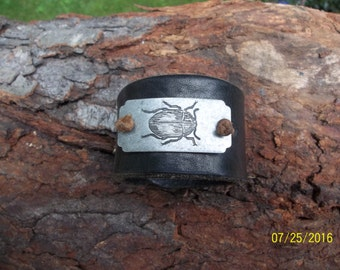 OOAK Handmade Leather Cuff Bracelet, Nature Inspired, 7 1/2 inches by 1 1/2 inches