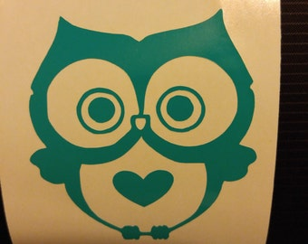 Owl Decal - permanent vinyl - perfect for Yeti & Rtic cups, dorm room doors,  car windows, lockers, laptops, etc. Decal only.