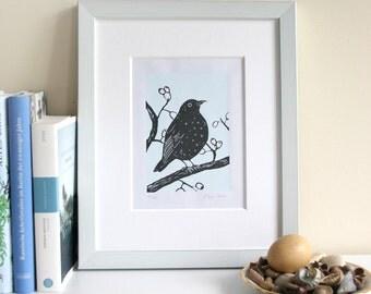 Blackbird, original linocut print, limited edition, handmade printmaking, blue and grey, bird illustration, art, wall decor, linoprint
