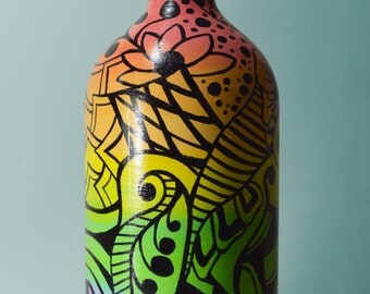 Rainbow Gradient Abstract Painted Bottle