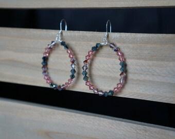 Pink and Grey Beaded Hoop Earrings, Beaded Hoop Earrings, Teardrop Beaded Earrings, Pink and Silver Hoops, Handmade Earrings