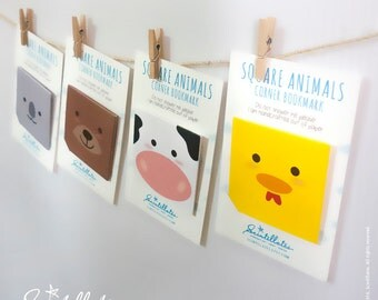 Square Animals Corner Bookmark – Chicken/Cow/Pig/Koala/Duck/Monkey/Panda/Bear (READY TO SHIP)