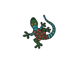 Gecko Patch - Green Gecko  Embroidered Iron on Patch - Gecko  Iron on Applique