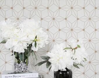 Geometric Flower Wallpaper / Geometric Removable or Regular Wallpaper / Flower Wall Mural / Geometric Flower Wallpaper