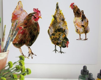 Chicken Collection Print