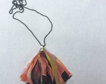 Tassel Fabric Necklace, Hand Painted fabric & satin  tassel necklace