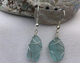 Turquoise Beach Glass Earrings