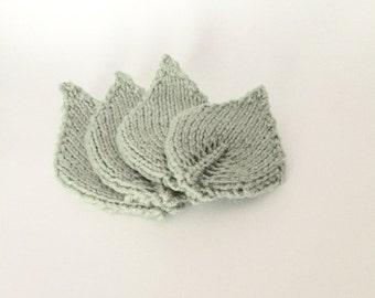Knit Leaf Coasters- set of 4