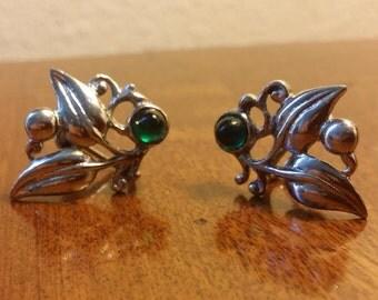 Vintage Leaf Silver Clip-On Earrings