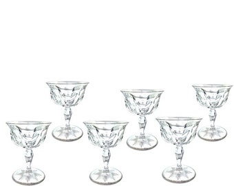 Set of 6 Etched HAWKES Clear Champagne/Tall Sherbets/Compotes, Mid-century Vintage Glassware Ice Cream Scoop Dessert Bowl or Tazza set