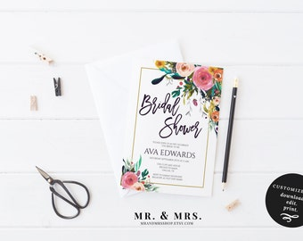 Bridal Shower Invitation | DIY Customized Bridal Shower Invite | Instant Download Watercolor Floral Bridal Shower Invitation | MAM106_C