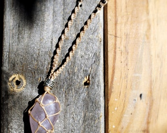 Handmade Macrame Netted Crystal Necklace- Choose your own!