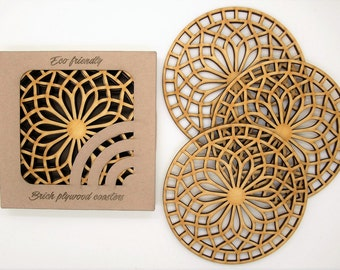 Wooden Coasters, Laser cut Coasters, Drink Coasters, Set of 4 Wood Coasters, Wedding Coasters, New Home Gift, Housewarming Gift, New Home