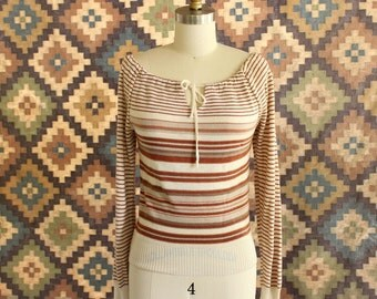 off the shoulder sweater . 1970s brown and cream stripe sweater . 70s drawstring sweater . lightweight, long sleeve sweater