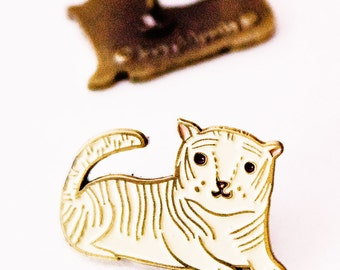 White Tiger Enamel Pin Brass Pin Tiger PIn White Tiger Lapel Pin Enamel Lapel Pin