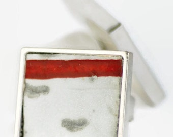 License Plate Ring Square Red White Weathered Stripe Adjustable Eco Friendly Recycled License Plate Unisex