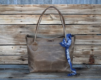 Brown Leather Tote Bag  / Market Tote / Hand Stitched Leather Bag / Laptop Tote / Everyday Leather Tote / Feral Empire / Fall Fashion
