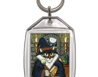 Wizard Cat Keychain Merlin Magician Fantasy Cat Art Keychain Keyring Gifts For Cat Lovers