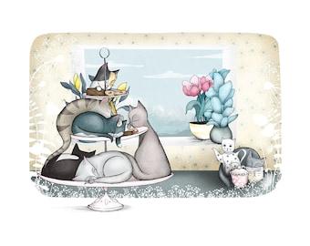Cat Cafe -cat art print - cat illustration nursery cafe kitchen art A4 / A3 /  8 x 10 - giclee print