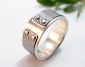 Mens Ring Silver and Textured Titanium Ocean Waves Mind The Gap Mens Wedding Band Mens Wedding Ring Silver Ring