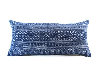 Blue Indigo Batik Linen Lumbar Pillow - Bohemian Zipper Rectangle Pillow - Boho Linen Decorative Pillow- Filler Included