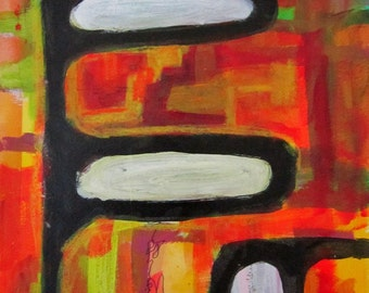Original Art Abstract Acrylic Painting Red Orange Yellow Green Bold Black Lines Unframed