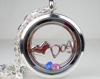 Floating Glass Locket Dog Birthstone Necklace Dog Lovers Jewelry Swarovski Crystal MADE TO ORDER