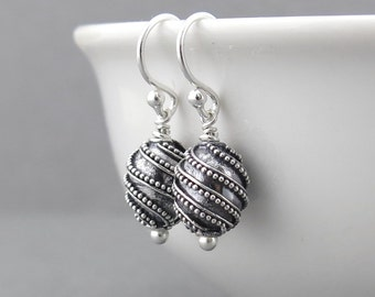 Silver Bead Earrings Silver Dangle Earrings Tiny Silver Earrings Everyday Jewelry Geometric Jewelry Modern Jewelry - Modern Edge