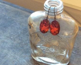 Vintage Topaz Czech Glass Crystal Rhinestone Earrings, Estate Style