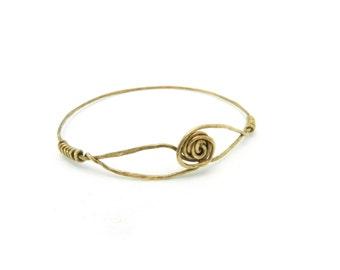 Antiqued Brass Bangle Bracelet, Hammered Brass Bangle, Minimalist Jewelry, Brass Bangle, Flower Bracelet, Brass Jewelry, By Durango Rose