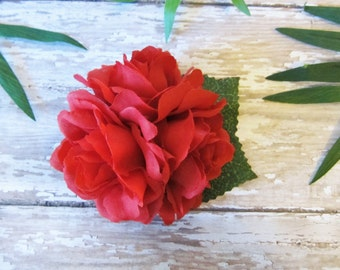 Red Roses, Red Rose Hair Clip, Mini Red Triple Rose Hair Clip