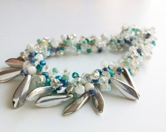 Turquoise Necklace, Turquoise & Silver Beads with Silver Teardrops