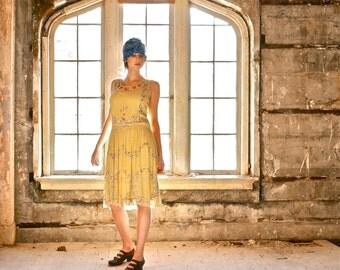 Yellow Silk Chiffon Beaded Flapper Dress with Slip Size Small