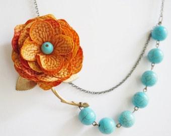 Statement Necklace,Turquoise Necklace,Orange Flower Necklace,Orange Necklace,Turquoise Jewelry,Bridesmaid Jewelry Set,Bridesmaid Gift,Gift