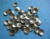 SILVER Metal Sequins 8mm Salvaged from Recycled lot of 50 cupped aluminum India