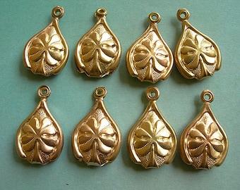 "Vintage Irish SHAMROCK pendants 1"" Brass Charms embossed lot of 8 St. Patrick's Day"
