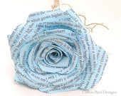 2 year anniversary Long Stem Rose Frozen Blue Cotton Gift Flower and Heart with your initials I carry your heart with me  - Made to Order