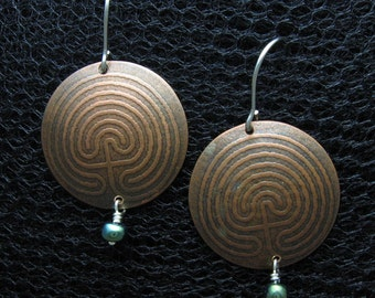 Labyrinth Copper Earrings