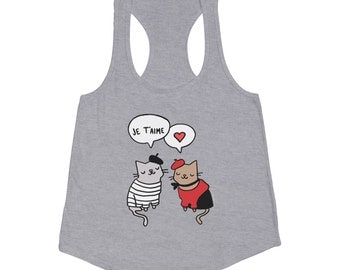 Cat TShirt French Cats in Love Women's American Apparel Tri Blend Tank