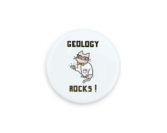 Geeky Cat Pinback Button Cute Science Cat Pin Geology Rocks Magnet