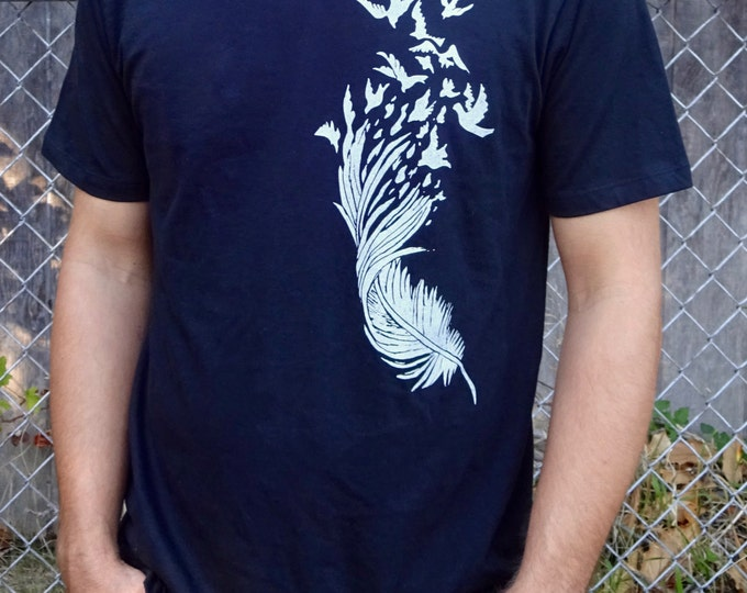Graphic Mens Tee, Graphic Bird Shirt, Nature Shirt, Organic Cotton Shirt, Organic Men Shirt, Organic Graphic Tee, Cotton Feather Shirt