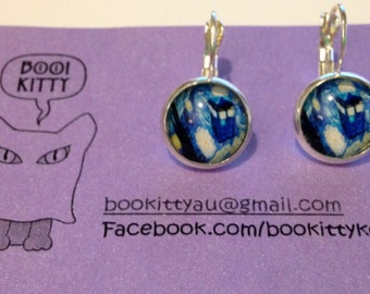 Doctor Who Starry Night Tardis Silver tone Leverback Dangle Earrings